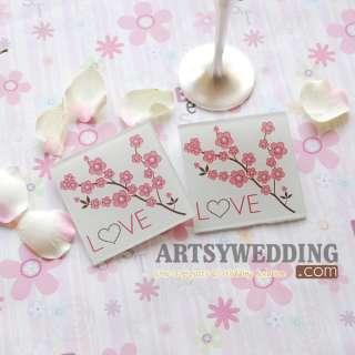 Square Love and Blossom wedding Glass Coasters Favor