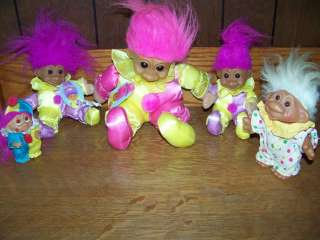 RUSS & DAM clown troll dolls small large vintage NWT collectable toy