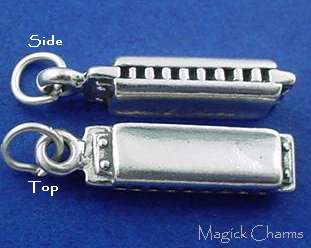 Sterling Silver HARMONICA Musical Instrument 3D Charm