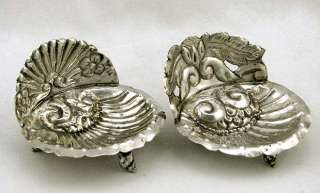 Pair of Mexican Coin Silver Shell Dishes w Conch Shell Feet 2