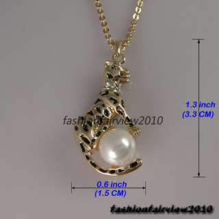 40CM 15.7 Gold GP Swarovski Crystal Pearl Leopard Pendant Necklace