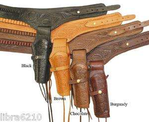 45 Revolver Pistol Gun Belt 48 NATURAL Holster WESTERN COWBOY Tooled