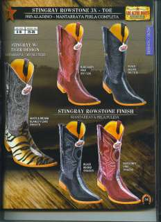 Mens Black or Burgundy Stingray Leather Western Cowboy Boots New $489
