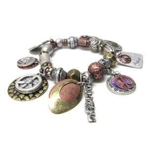 Tri Tone Peace Theme Charm Stretch Bangle Bracelet