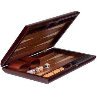 Backgammon Board Game Case Inlaid Wood Set 11