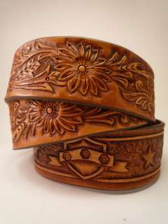 Leather Belt. Hand made, Tooled & Carved Western Style