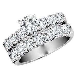 Diamond 1.15 Ct 14k White Gold Bridal Ring Set Engagement Band