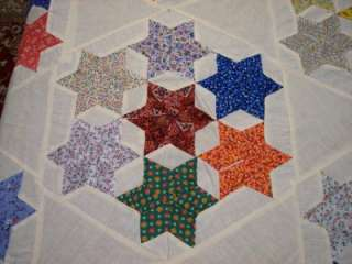 VINTAGE 7 STAR   HAND STITCHED   TINY PRINT COTTON QUILT TOP   QUEEN