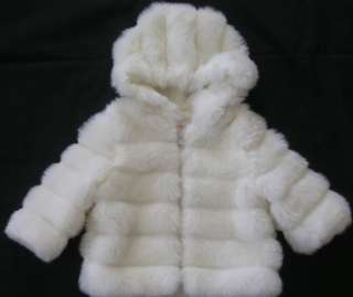Outbrook Kids girls white faux fur jacket coat church occasion size 12