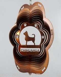 Wind Spinner 12  Stainless Steel Copper Chihuahua Dog Great Gift Dog