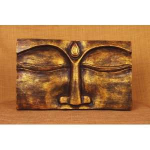 Miami Mumbai Buddha Face Panel   Red Gold Wood PanelWP026