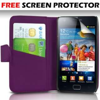 Purple Premium PU Leather Wallet Case Cover Flip For Samsung Galaxy S2