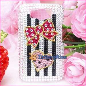 Bling Diamond Bowknot Back Hard Case Cover For HTC HD2 T8585 LEO