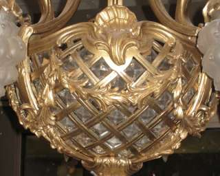 Antique French Louis XV Style Bronze Chandelier