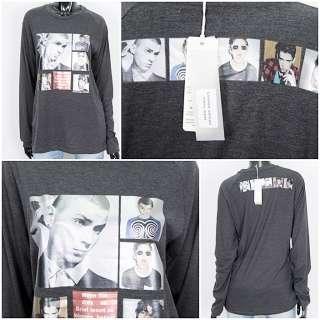 New Ladies Korean Clothes Dark Gray face print clothe T shirt 100%