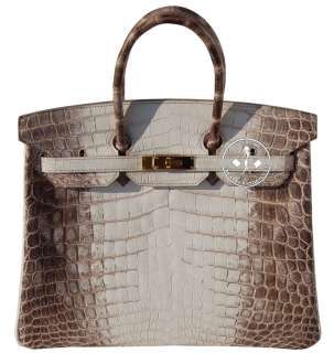 HERMES BIRKIN BAG  CROCODILE HIMALAYAN  GOLD HARDWARE  #9639