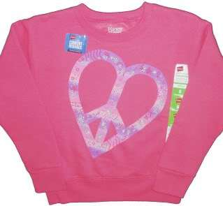 shade of pink screen print peace sign heart ribbed neck cuffs and hem
