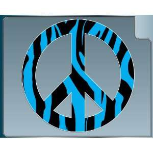 Zebra Striped Peace Sign vinyl decal sticker in Blue 4
