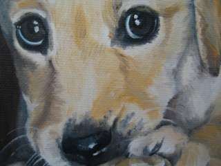 PUPPY AARON Original oil painting by NOEWI dog Yellow Labrador