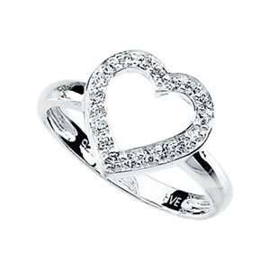 Size 08.00 Sterling Silver Cubic Zirconia Heart Ring Jewelry