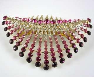 Hot pink rhinestones bridal wedding hair comb hair clip