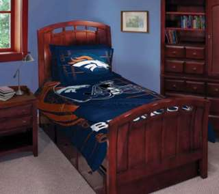 NFL DENVER BRONCOS Twin Football COMFORTER SET Bed Sham