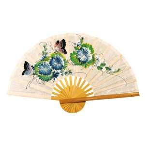 EXP Hand painted White Folding Decorative Wall Fan