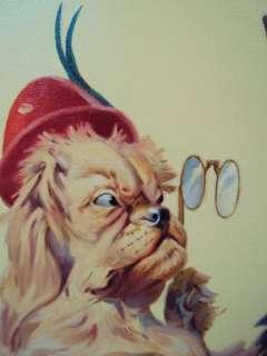 Listd Artist HERBERT HERGET Original OIL PAINTING Terrier DOG MARRIAGE
