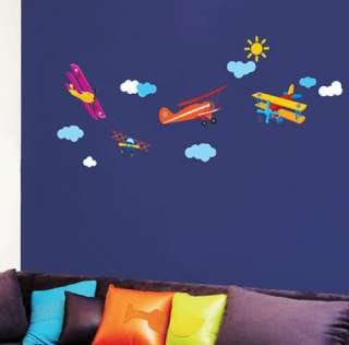 decor accents self adhesive wall sticker sky airplane pilot ss58223