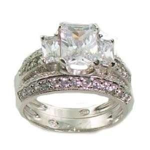 Antique Emerald Cut 3 Stone Wedding Ring Set