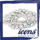 ICONS Fashion 5 Diamante Rhinestone Bead Pearl Stretch Bracelet Silver