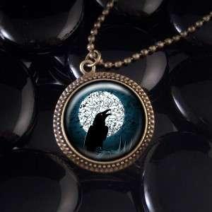 Raven Full Moon Antique Bronze Pendant Necklace 617 RF