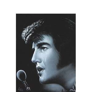 Velvet Elvis Presley Black and White Famous Tear with Hawaiian Lei