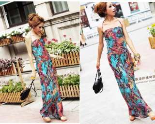 New Lady BOHO Sexy Floral Strap long Summer Dress 3288