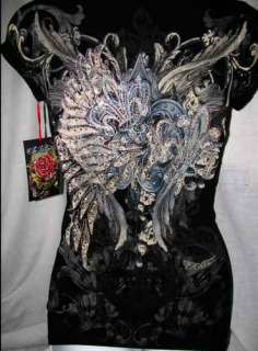 VINTAGE TATTOO LACE BLACK In Vein ANGEL WING FLEUR DE LIS Top M