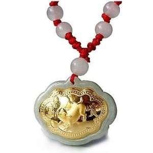 24K Gold Chinese Zodiac Pig Genuine Jadeite Jade Pendant Necklace(With