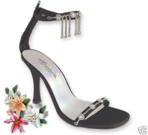 Prom or Wedding Shoes Crystal Charm Black