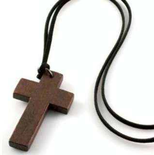 Cute Wooden Cross Retro Style Valentines Necklace Pendant N394