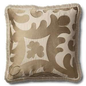 Embroidered French Lace Throw Pillow with Fringe   Dogwood