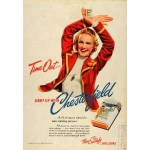 1939 Ad Chesterfield Cigarette Girl Women Smoke Tobacco
