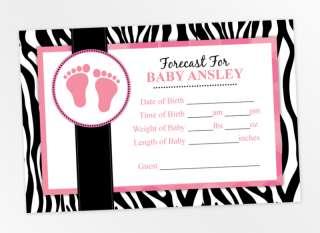 20   Mod Zebra Print Baby Shower Prediction Cards Favor