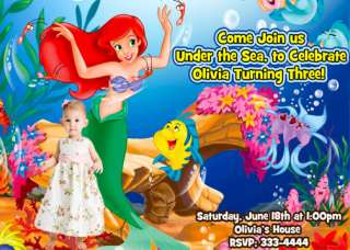 THE LITTLE MERMAID PRINCESS BIRTHDAY PARTY INVITATIONS