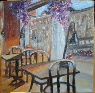 Christine ART Original Oil Paintings CAFE WINDOW LIGHTS