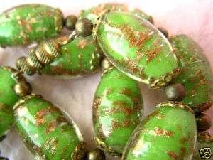 RARE Antique Green Gold Foil MURANO Glass Bead Necklace