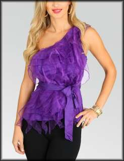 One Shoulder Purple Ivory Magenta Black Chiffon Ruffled Front