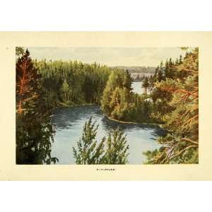 1908 Print Pungaharju Finland Landscape River Pine Trees Forest