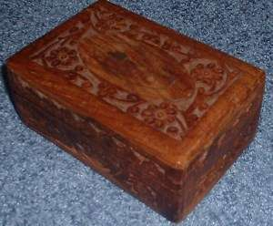Vintage INDIA INDIAN carved wood box.JEWELRY brass art