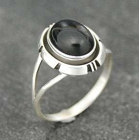 Navajo Leonard Spencer Silver Black Onyx Ladies Ring