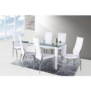 Dining Set with White Faux Leather Chairs