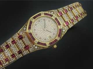 AUDEMARS PIGUET ROYAL OAK DIAMOND RUBY YELLOW GOLD WATCH